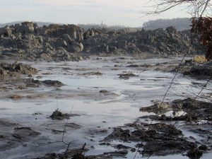 TVA Kingston Fossil Plant coal ash spill, appx. 1 mile from the retention pond. The pile of coal ash is 20-25 feet high, and stretches for two miles and then empties into the Emory River. Photo Credit: Brian Stansberry from Wikimedia Commons.
