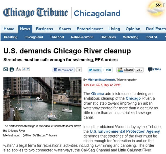 US Demands Chicago River Clean-Up