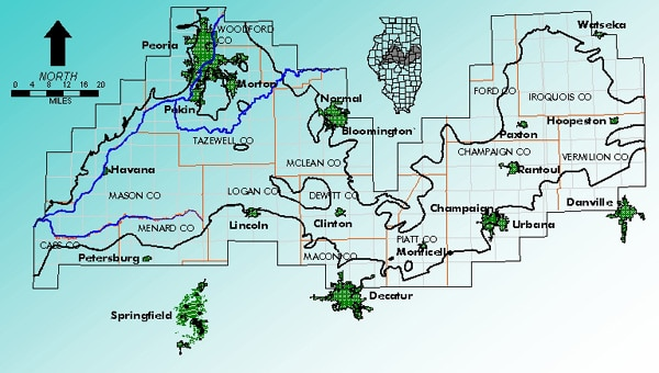 Mahomet Aquifer boundary map, courtesy of the Mahomet Aquifer Consortium